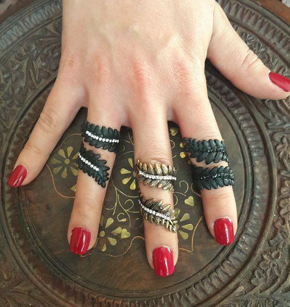 Leaf rings tribal rings gypsy rings boho rings leaf eternity
