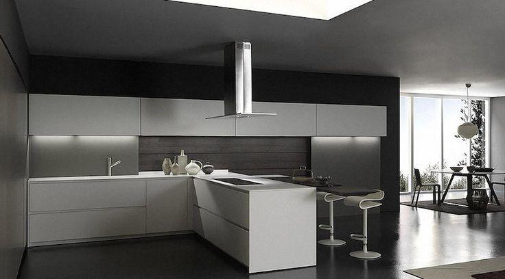 Базы: угловая кухня с фасадами толщиной 2 см, боковые панели в белом матовом лаке, белая столешница из ламината толщиной 12…