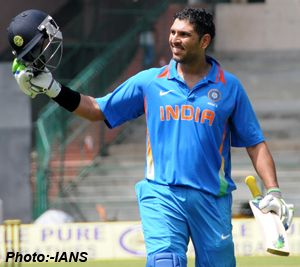 In a cricket match in between India A and West Indies A cricketer Yuvraj Singh scored a brutal 89-ball 123 runs hitting including 8 fours and 7 sixes that took India A to a massive 312 for four in 42 overs after West Indies A decided to field. Yuvraj Singh well supported by Mandeep Singh and Yusuf Pathan both scored 67 and 70 runds. India A won the first of the three-match unofficial ODI series by 77-run played at the M. Chinnaswamy Stadium, Bangalore.