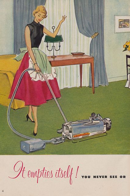 "You've got to love that ""It Empties Itself!"" :) vintage 1950s vacuum ad homemaker cleaning. Upgrade now to an all new Miele Vacuum Cleaner  today! http://www.cleaninggadgets.co.uk/miele-vacuum-cleaner-review-right-vacuum-for-your-home/"