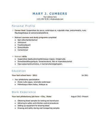 10 best Resume Templates images on Pinterest Free stencils - phlebotomist resume example