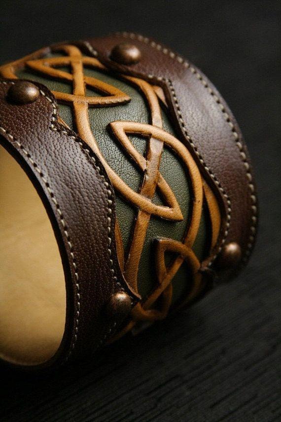 "Leather Cuff, Leather Bracelet: leather cuff with a celtic design ""Celtic Dara Cuff"". $75.00, via Etsy."