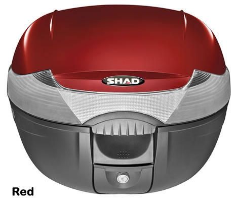 """Shad SH-33 motorcycle top case in garnet. Designed to attach to most flat luggage racks. Its dimensions are: 16.5"""" L x 16.9"""" W x 12.2"""" H  and has a 33 liter capacity. Your price is $134.95. With Free Shipping."""