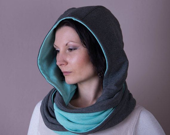 Hooded Scarf, Hood Scarf, Reversible Infinity Hoodie,Hooded Cowl,Hooded Shawl,Scarves For Women,Grey,Mint Green,Fashion Accessories,Scarves
