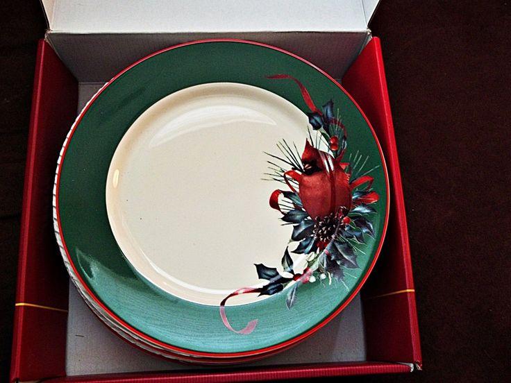 Lenox Winter Greetings Fine China 4 Cardinal Red Bird Salad Dessert Plates | eBay · Christmas DinnerwareLenox ... & 155 best Christmas Dinnerware images on Pinterest | Christmas china ...