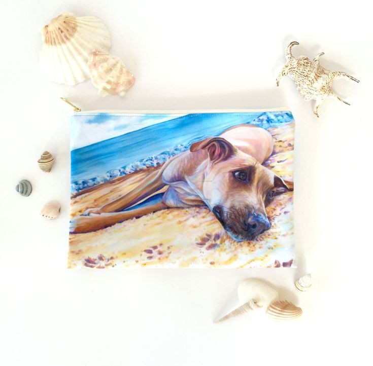 Dog on the Beach Large Accessories Bag, Cosmetics Bag, Pencil Case or Beach Pouch by KateGreenDesign on Etsy