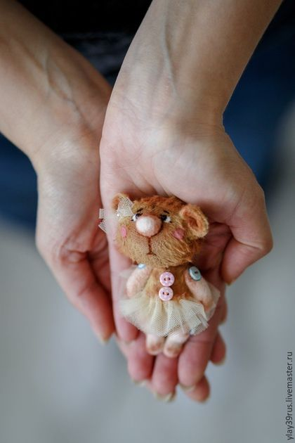 Мишки Тедди ручной работы. Ярмарка Мастеров - ручная работа. Купить Мини мишка - Малышка .. Handmade. Кремовый, мишка в подарок