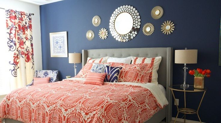 Navy Blue and Coral Bedroom                                                                                                                                                                                 More