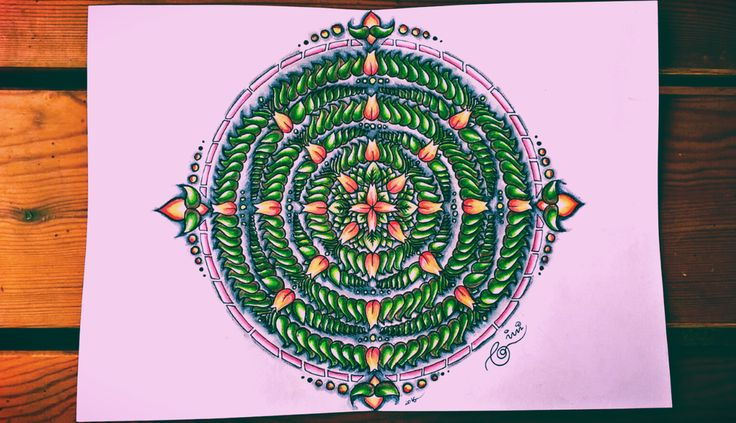 Mandala #mandala #green #orange #wood #red #art #artwork