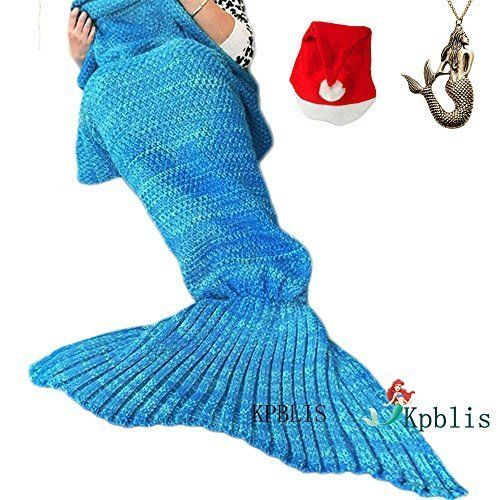 Mermaid Tail Blanket Soft Knitting Wrap Throw Sleeping Bag Sky Blue Couch Lounge #Kpblis