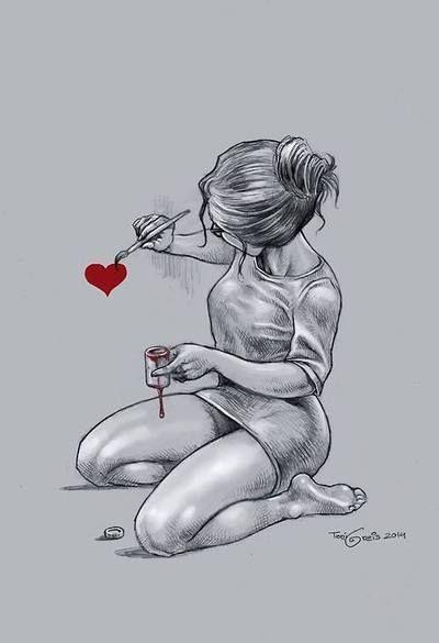 heart, girl, and art image