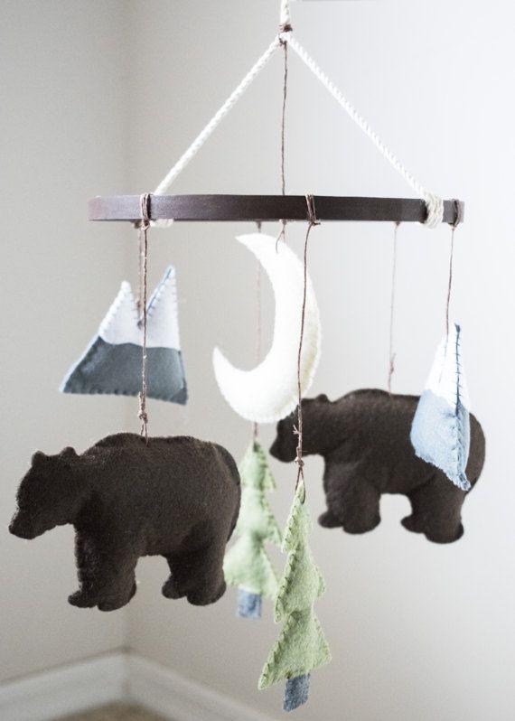 Woodland Mountain + Bear Felt Baby Crib Mobile: Woodland (Outdoor) Theme- Mountain + Bear Nursery Decor- Custom Colors Available