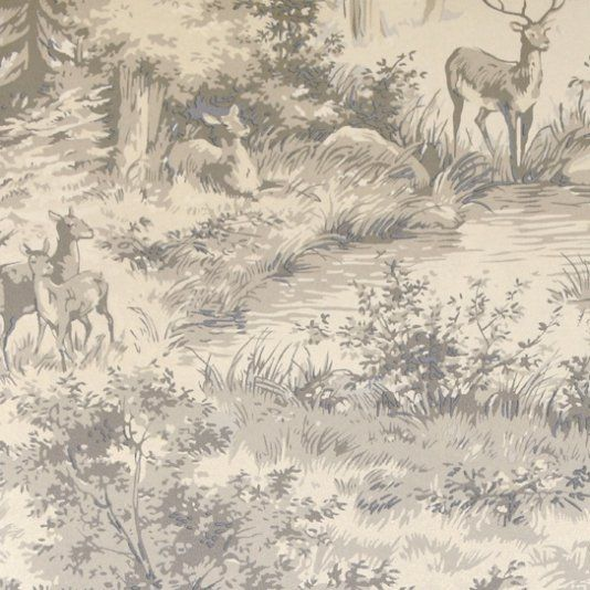 Torridon Wallpaper Large design iridescent wallpaper in striking silver and grey with deer and stag in woodland setting.