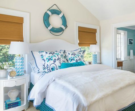 Ocean Theme Bedroom in white and blue: http://www.completely-coastal.com/2015/08/blue-white-wave-table-lamps-in-ocean-bedroom-kate-jackson.html Wave table lamps and life preserver ring.