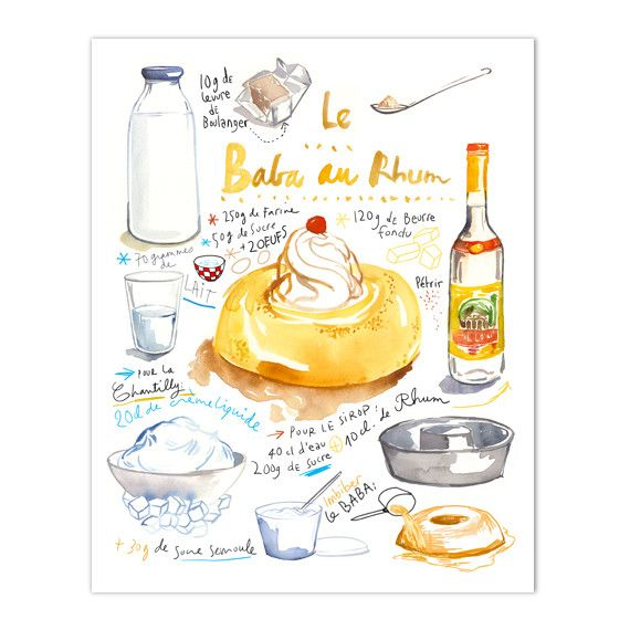 """Baba au rhum recipe Illustrated recipe Archival giclee reproduction print from my watercolor illustration. Signed with pencil. Printed on fine art """" BFK Rives """" hot-pressed paper, smooth surface, 140"""