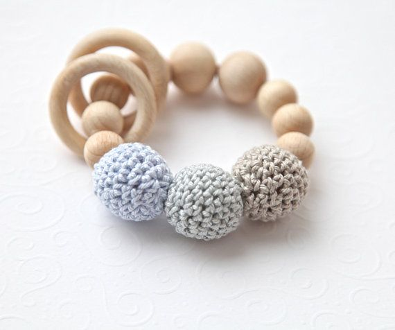 Teething toy with crochet wooden beads and 2 wooden by nihamaj, $19.00
