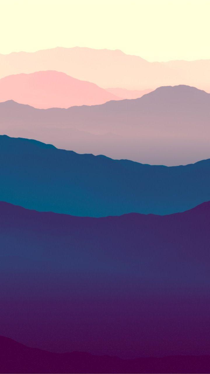 Mountains Landscape Purple Sunset Gradient Horizon 720x1280