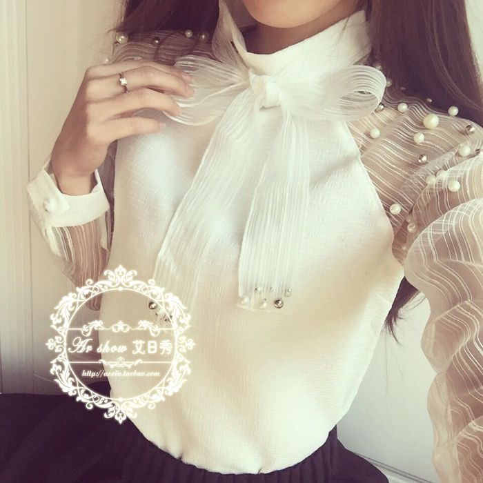 Tops New 2016 Fashion Feminina Blusa Women Summer Lace Beaded Chiffon White Blouse Shirts Cute Bow Long Sleeve Tops Blouses-inBlouses & Shirts from Women's Clothing & Accessories on Aliexpress.com | Alibaba Group