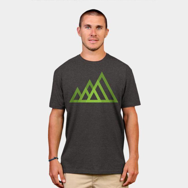 Mountains. #designbyhumans #mountains #minimal #geometric #green #nature #outdoor #adventure #tshirt #tshirtdesign #apparel #menswear
