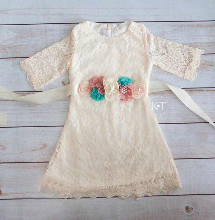 Cream Lace Dress Amp Sash 3 4 Sleeve Kutie Tuties