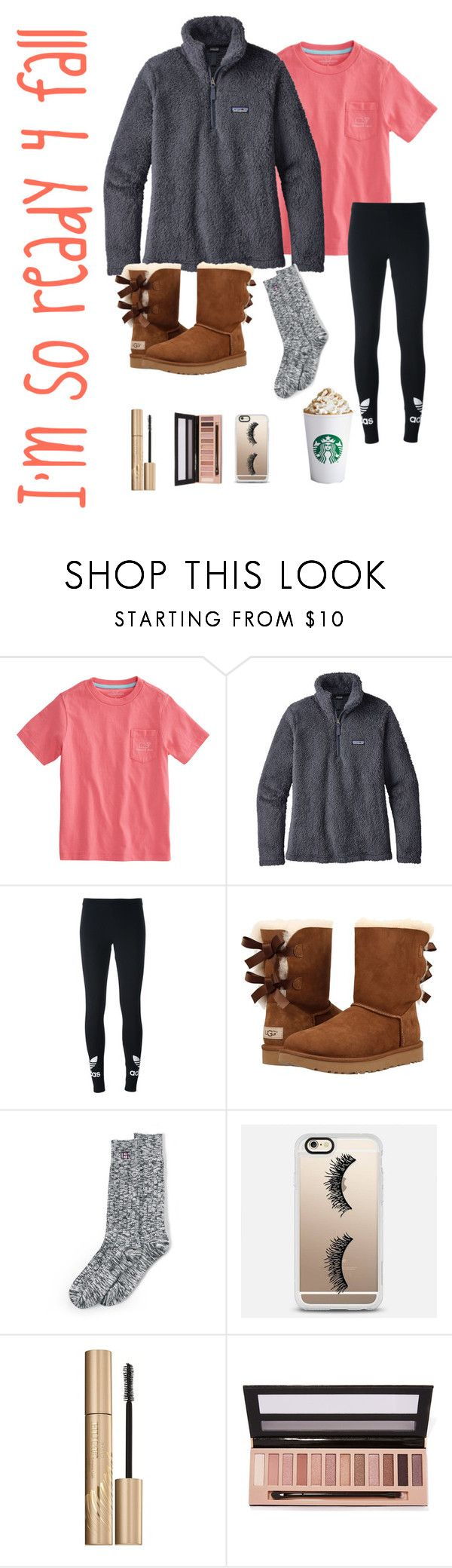"""I'm like ""um....... Hello...where is cooler weather??"" "" by heyitskatherine1022 ❤ liked on Polyvore featuring Vineyard Vines, Patagonia, adidas Originals, UGG, Lands' End, Casetify, Stila and L.A. Girl"
