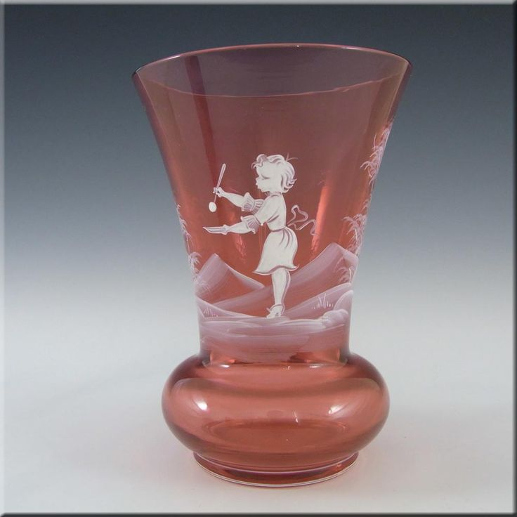 Mary Gregory Bohemian Hand Enamelled Cranberry Glass Vase - £30.00