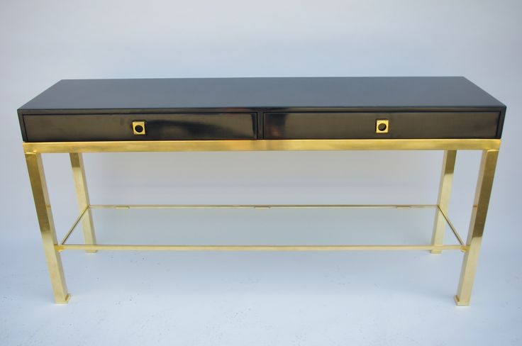 Black lacquered console by GUY LEFEVRE from 70's #giltbrass #1970 #modernconsole #console #drawers