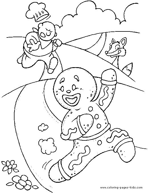 gingerbread man  fairy tale color page, fantasy medieval coloring pages, color plate, coloring sheet,printable coloring picture