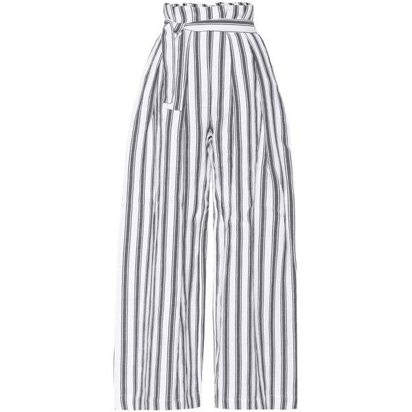 Three Graces London Striped Linen and Cotton Trousers ($547) ❤ liked on Polyvore featuring pants, white, white trousers, white linen pants, striped pants, linen pants and stripe pants