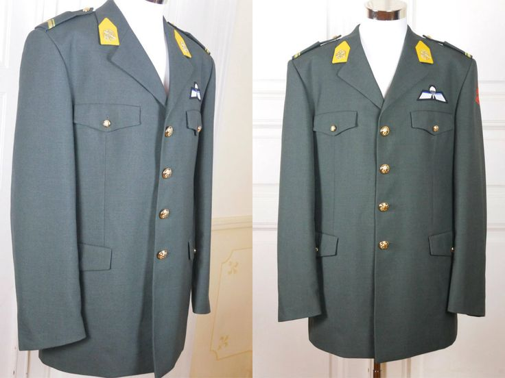 Dutch Vintage Military Uniform Jacket, Gray Paratrooper Service Jacket w Gold Insignia and Patches, European Officer Jacket: Size 42L US/UK) by YouLookAmazing on Etsy