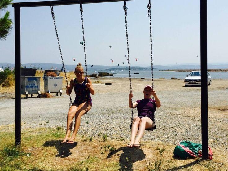 Kitesurfing, longboarding, yoga, girls, vacation #girlzactive #kitecamp