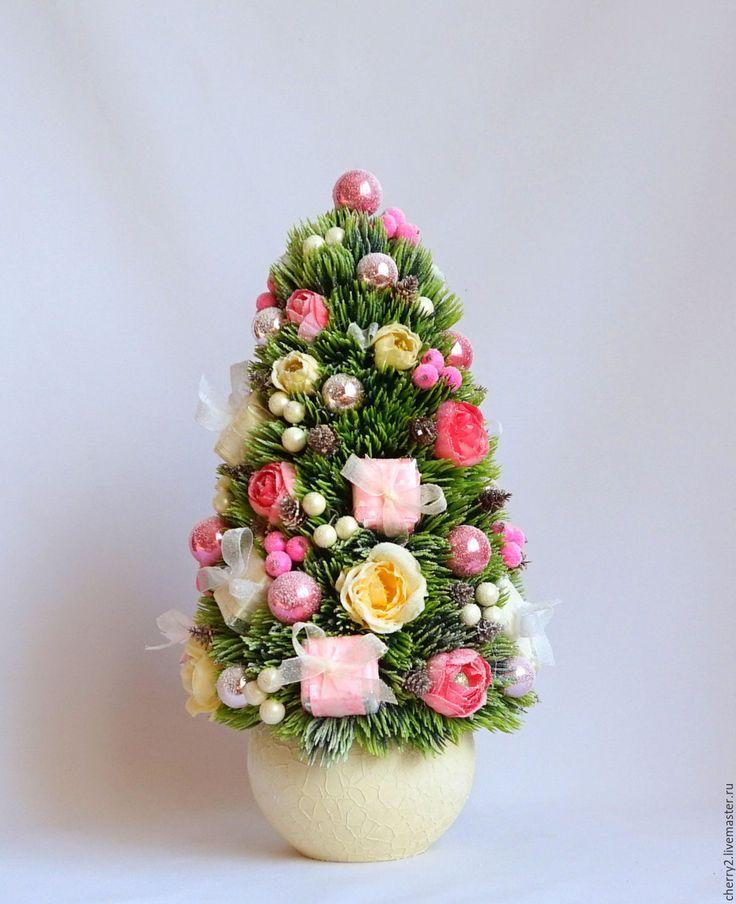 Купить Настольная Хвойная Новогодняя Елка Елочка Шебби Розовый Бежевый - розовый бежевый