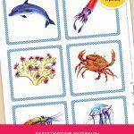 Карточки с морскими обитателями помогут детям разобраться, кто проживает в толще соленой воды. Картинки расположены на вертикальных листах: их можно вырезать или использовать в занятиях постранично.Скачайте дополнительный материал по ссылке.
