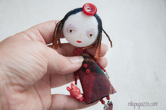 Girl and Bunny Art Doll Brooch mixed media collage by miopupazzo