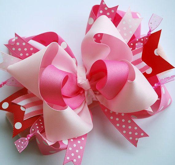 NUEVO ESTILO... triple capa funky encima del rojo con un montón de lazo de pelo Rosa San Valentín