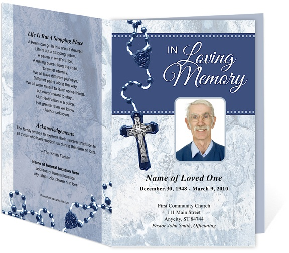 catholic funeral programs template for a catholic mass ceremony service blue crucifix single fold