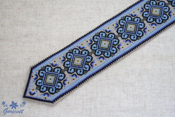 Men's necktie «Festive». Handmade embroidered tie For men Black / Violet / Blue Lt / Yellow Ukrainian folk