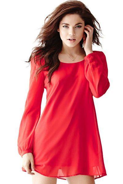 Mini Robes Croix Rouge Bretelles En Mousseline De Soie Retour Robe Droite Pas Cher www.modebuy.com @Modebuy #Modebuy #Rouge #sexy #dress #me