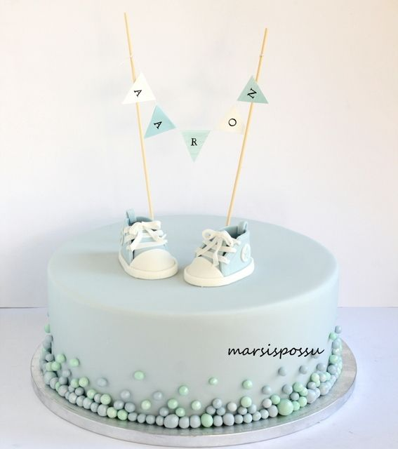 Marsispossu: Pikkuruisin palleroin koristeltu ristiäiskakku, Christening Cake for baby boy