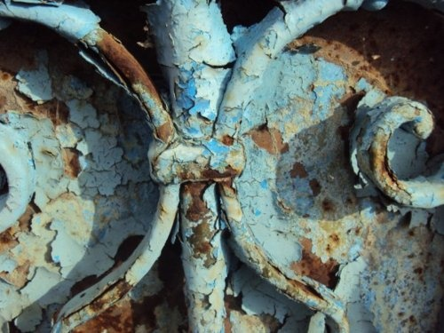 Beautiful blue with rust.