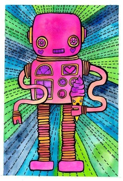 Robot Ice Cream Cone 8x10 Fine Art Print. $20.00, via Etsy.