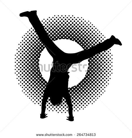 Black silhouette of a guy doing summersault on halftone effect background. Boy standing upside down. Vector