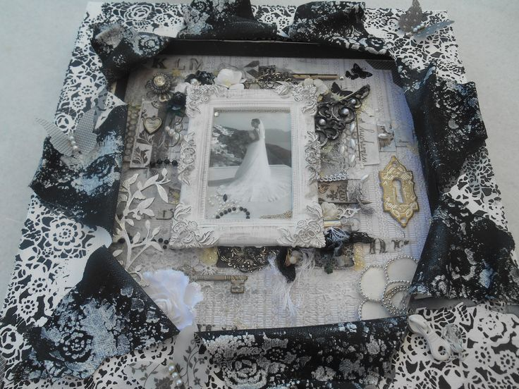 a mixed media explosion canvas for the white with 1blog and August.chalenge