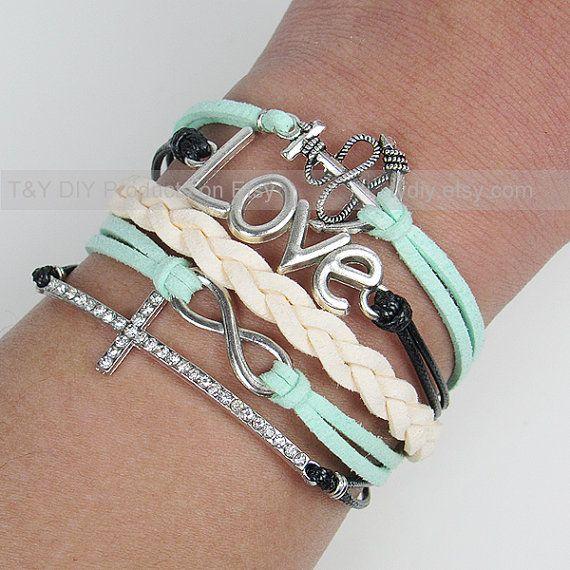 Infinity Wine Coolers: Infinity Bracelet, Cross Bracelet, Anchor Bracelet, Love