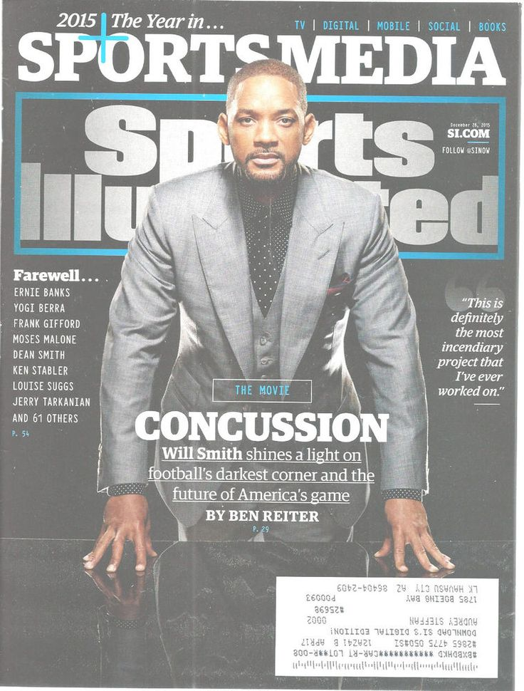 Will Smith Concussion Movie Sports Illustrated Magazine, December 28 2015 #Doesnotapply
