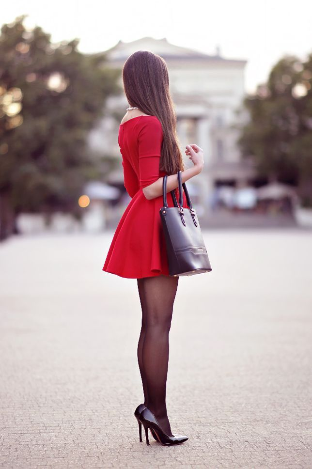 The red dress with a flared bottom from http://VipMe.com looks like from a fairytale! It took my breath away at the first sight :) I set it with elegant accessories: black tights from Veera, simple high heels and pearl jewelry from http://StaceyJewellery.com.