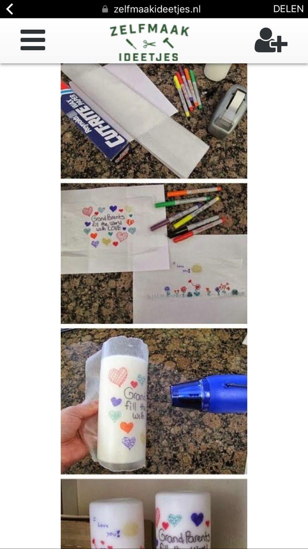 Laat jouw kids een leuke tekening maken met stiften op een stuk tissue papier, teken voorzichtig want het papier is erg breekbaar.  Vervolgens leg je de tekening op bakpapier.  Dit bind je dan om de kaars heen, met de tekening naar onze kant toe.  Pak een fohn en begin met het warm maken van het papier. Op een gegeven moment absorbeerd de kaars de tekening. Wat een geweldig cadeau!!