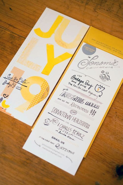 6. Invitation inspiration: Sunny yellow hand lettered invites #modcloth #wedding