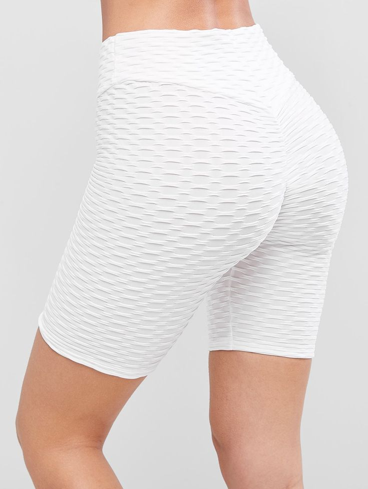 Textured Scrunch Butt Solid Biker Shorts MILK WHITE