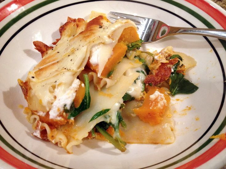 roasted squash spinach goat cheese lasagne | Family of Cooks